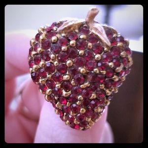 Vintage Rhinestone Strawberry Brooch